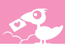 Bird Card with heart Royalty Free Stock Image