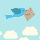 Bird carrying envelope Royalty Free Stock Photos