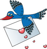 Bird Carrying a Love Letter. Vector Illustration Royalty Free Stock Photos