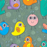 Bird Cartoon Doddle Seamless Pattern_eps Royalty Free Stock Images