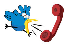 Bird cartoon and phone stock photos