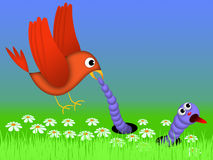 Bird and caterpillar Royalty Free Stock Image