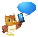 A bird with cell phone Stock Images