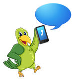 A bird with cell phone Stock Photos