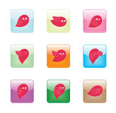 Bird Character Round Corner Glossy Button Royalty Free Stock Images