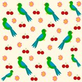 Bird, cherries and flower seamless pattern stock photos