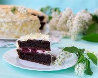 Bird-cherry flour homemade cake with cherries. Bird-cherry flour homemade cake with cherries, sour cream and almond Stock Image
