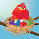 Bird with chicks in the nest. Vector illustration. Royalty Free Stock Photo