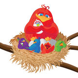 Bird with chicks in the nest. Vector illustration. Royalty Free Stock Photos