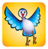 Bird children\'s drawing. Happy blue bird in yellow background Royalty Free Stock Images
