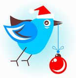 Bird with christmas ball Stock Image