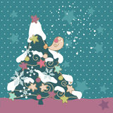 Bird on Christmas tree. Little bird on Christmas tree Royalty Free Stock Photo