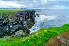 Bird cliffs at the seaside near Arnarstapi Village Stock Image