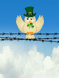 Bird with clover on wire Royalty Free Stock Photo