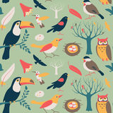 Bird Collection Seamless Pattern Stock Photography