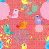 Bird Colorful Circle Flower Seamless Pattern Stock Image