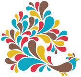 Bird With Colorful Plumage. Vector illustration of a retro-styled bird with colorful plumage Stock Photography