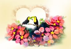 Bird couple on cherry branches and flower watercolor painting. Hornbills bird couple on cherry branches in tne heart and flower abstract art watercolor pink Stock Images