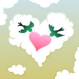 Bird couple holding love message. Pair of love birds holding a lacy heart in front of a heart shape cloud Stock Photo
