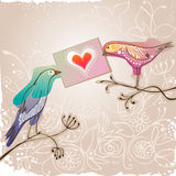Bird couple with love message. Pretty birds holding love message Stock Photos