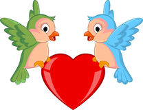 Bird couple with red heart Royalty Free Stock Photos