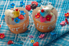 Bird Cupcake Stock Photography