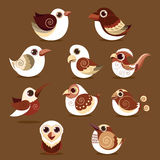 Bird cute cartoon set abstract Stock Image