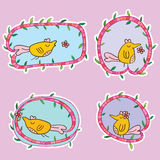 Bird cute flower play card Stock Image