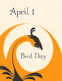 Bird day. Card with fire bird, 1 april, national bird day Stock Images
