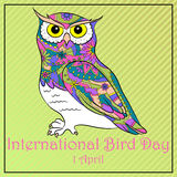 Bird day with owl. Vector background bird day with owl Stock Photos