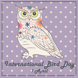 Bird day with owl vintage Royalty Free Stock Photography