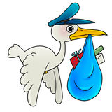 Bird delivering mail. A Bird delivering mail and present Royalty Free Stock Images