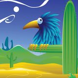 Bird_desert. Vector image of a bird near a desert oasis Stock Photography