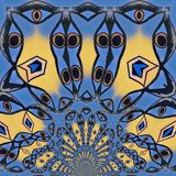 Bird design in night . The eyes draw the birds. Abstract  Graphic design.  The emotional digital art royalty free illustration
