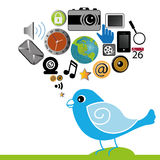 Bird. With different social media icons on white background Stock Photography