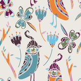 Bird Doodle Pattern. A hand drawn colorful doodle pattern with birds and flowers Royalty Free Stock Images