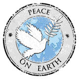 Bird dove as peace symbol stamp. peace day emblem vector Royalty Free Stock Photos