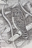 Bird drawing. The original drawing of birds on white paper Royalty Free Stock Image