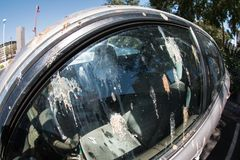 Bird Droppings Completely Cover Side Window Of Parked Car Stock Image