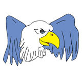 Bird eagle hawk falcon with wings for tattoo Royalty Free Stock Image