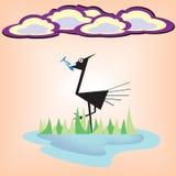 Bird eat fish cartoon Royalty Free Stock Images
