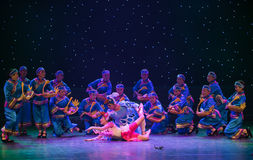 Bird elves-Turtledove-Chinese folk dance. May 15, 2016, from Jiangxi province around the dancers gathered to exchange skills. At the Nanchang Repertory Theater royalty free stock photos