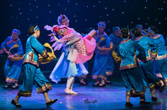 Bird elves-Turtledove-Chinese folk dance. May 15, 2016, from Jiangxi province around the dancers gathered to exchange skills. At the Nanchang Repertory Theater Stock Image