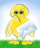 Bird with envelope cartoon. Cute yellow bird with envelope stock illustration
