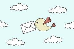 Bird with envelope. Little flying bird with envelope stock illustration