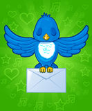 Bird with envelope mail Royalty Free Stock Photo