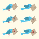Bird with envelope set Royalty Free Stock Photo