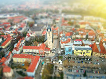 Bird eye ( aerial ) view of Jena, Germany, at sunset. Tilt shift retro style ( shallow DOF ) Colorful Travel background Stock Images
