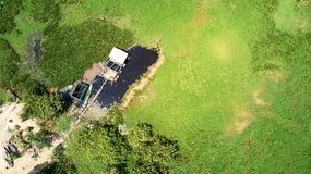 Bird eye eagle view from a drone of a road crossing rice fields royalty free stock photography