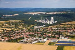 Bird eye perspective view of european town surrounded with field royalty free stock images